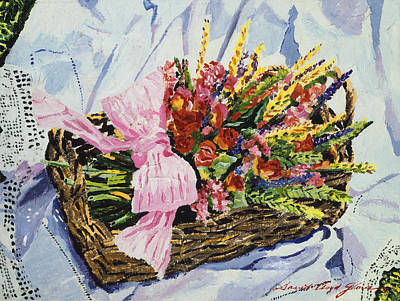 Outdoor Still Life Painting - Dried Rose Basket On Lace by David Lloyd Glover