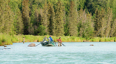 Forerst Photograph - Drift Boat Fishing The Kasilof by Edie Ann Mendenhall