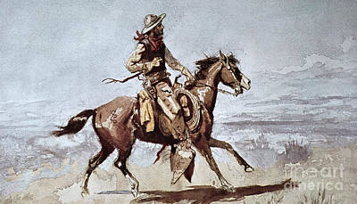 Old West Drawing - Drifters by Charles Marion Russell