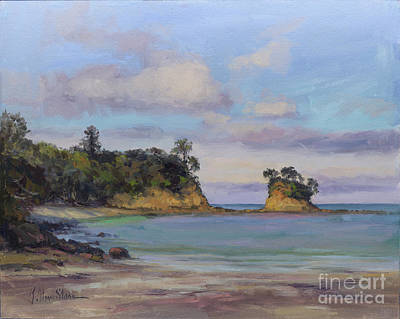 Painting - Drifting Clouds, Waiake Beach, Torbay by Kristen Olson Stone