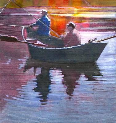 Painting - Drifting Fisherman by Joseph Barani