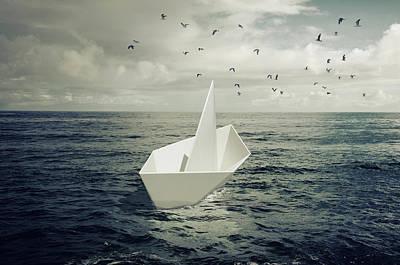 Drifting Paper Boat Art Print