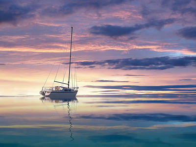 Photograph - Drifting Yacht At Sunset by Gill Billington