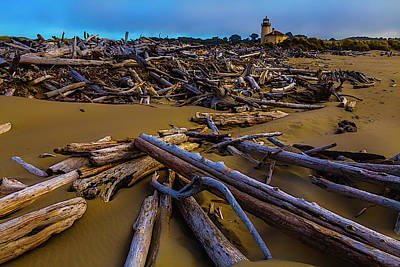 Coquille River Lighthouse Photograph - Driftwood And Coquille River Lighthouse, by Garry Gay