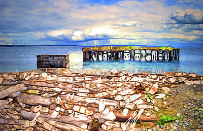 Olympic National Park Digital Art - Driftwood And The Old Pier by Tara Turner