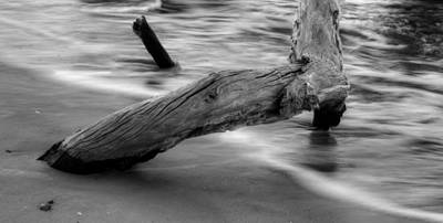 Driftwood Photograph - Driftwood And Tide In Black And White by Greg Mimbs