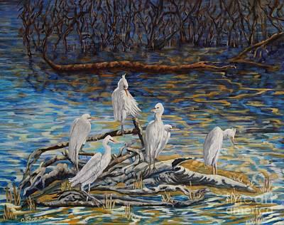 Lovely Lavender - Yellow Billed Egrets on Driftwood by Caroline Street