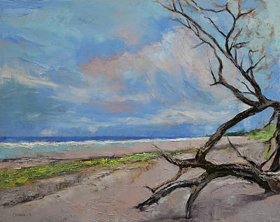 Impressionistic Beach Painting - Driftwood by Michael Creese