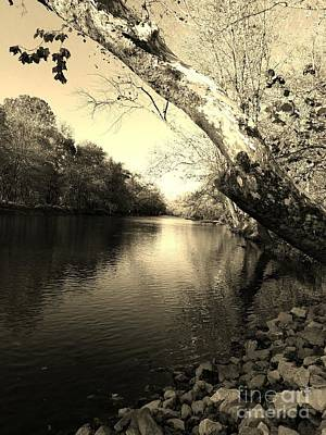 Driftwood River Southern Indiana -sepia Art Print