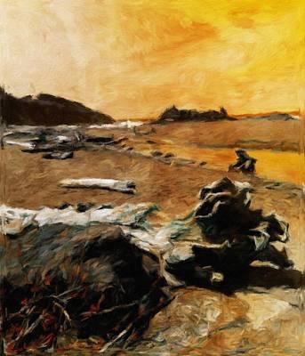 Impressionist Digital Art - Driftwood Sunset by Katrina Britt