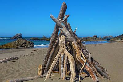 Driftwood Teepee Oregon Coast Art Print