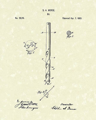 Drawing - Drill Bit Morse 1863 Patent Art by Prior Art Design