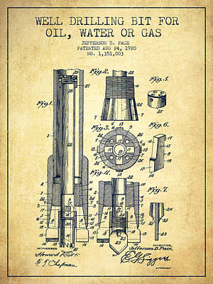 Drilling Bit For Oil Water Gas Patent From 1920 - Vintage Art Print by Aged Pixel