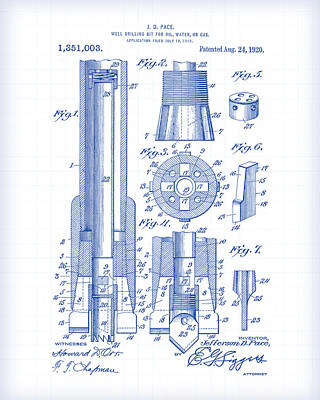 Painting - Drilling Bit Patent Drawing by Gary Grayson