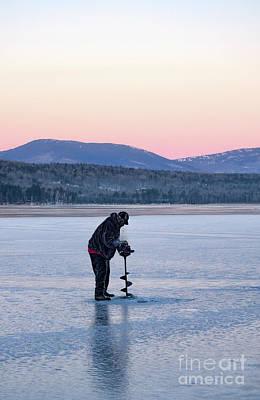 Photograph - Drilling Ice On Wilson Lake, Wilton, Maine  -88115 by John Bald