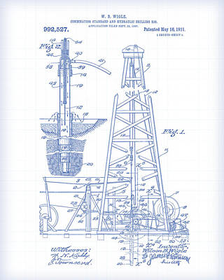 Painting - Drilling Rig Patent Drawing by Gary Grayson