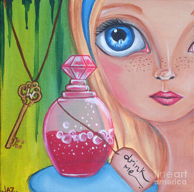 Pop Surrealism Painting - Drink Me by Jaz Higgins