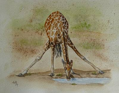 Painting - Drinking Giraffe by Kelly Mills