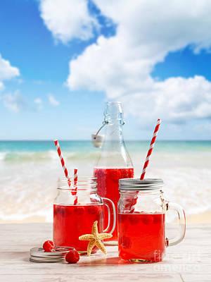 Raspberry Wall Art - Photograph - Drinks At The Beach by Amanda Elwell