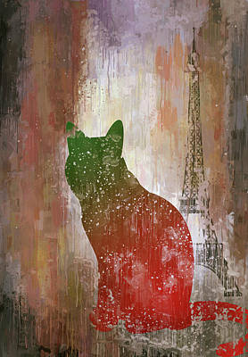 Digital Art - Dripping Poster Cat And Tower by Yury Malkov