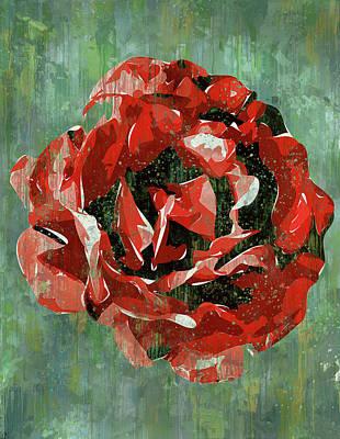 Digital Art - Dripping Poster Rose On Green by Yury Malkov