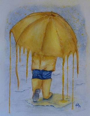 Painting - Dripping Yellow Umbrella by Kelly Mills