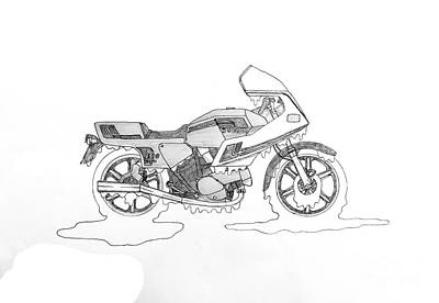 Drippy Drawing - Drippy Ducati Pantah by Stephen Brooks