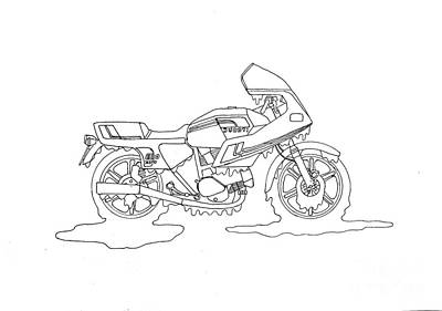 Drippy Drawing - Drippy Ducati by Stephen Brooks