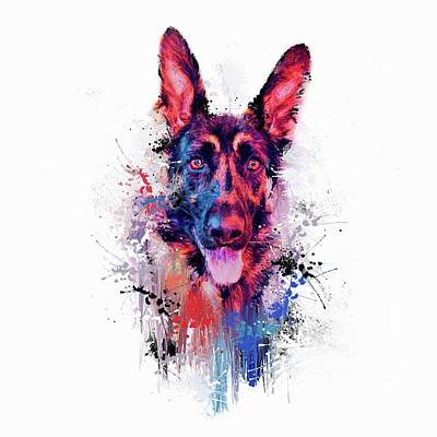 Mixed Media - Drippy Jazzy German Shepherd Colorful Dog Art By Jai Johnson by Jai Johnson