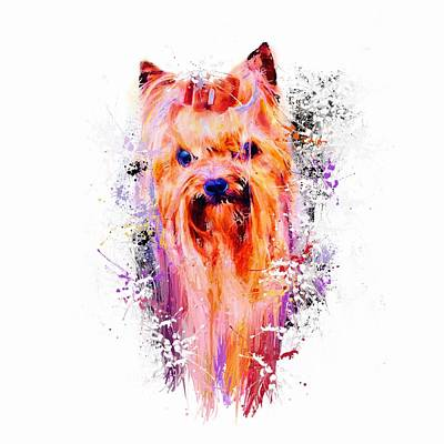Mixed Media - Drippy Jazzy Yorkshire Terrier Colorful Dog Art By Jai Johnson by Jai Johnson