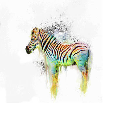 Mixed Media - Drippy Jazzy Zebra Colorful Animal Art By Jai Johnson by Jai Johnson