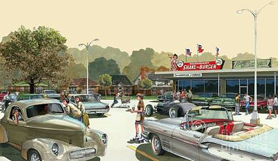 Drive In Painting - Drive In Days by Michael Swanson