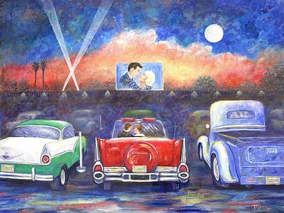 1950s Movies Painting - Drive-in Movie Theater by Linda Mears