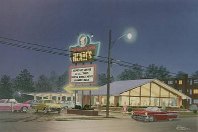 Drive-ins Painting - Drive-in Restaurant by C Robert Follett