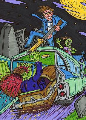 Drawing - Drive Through The Graveyard by Anthony Snyder
