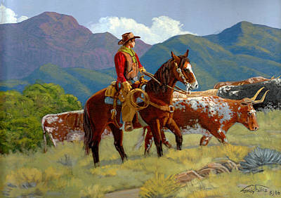 Longhorns Painting - Drive To Kansas by Randy Follis