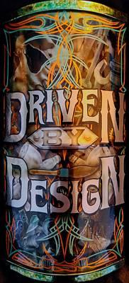 Airbrushed Art Mixed Media - Driven By Design Kustom Paint Logo by Eric Bossert