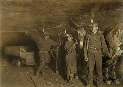 Miner Photograph - Drivers And Mules With Young Laborers by Everett