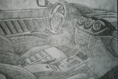 Funny Car Drawing - Driver's Seat by Ryan Flanagan