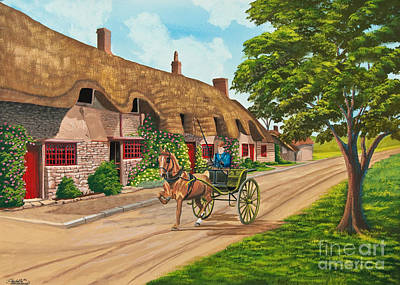 English Gouache Painting - Driving A Jaunting Cart by Charlotte Blanchard
