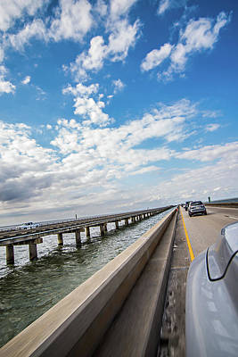 Photograph - Driving Across Lake Pontchartrain Causeway Near New Orleans by Alex Grichenko