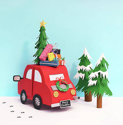Mixed Media - Driving Home For Christmas by Isobel Barber
