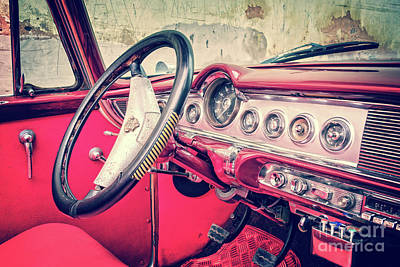 Driving In Havana Art Print by Delphimages Photo Creations