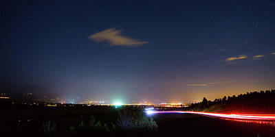 Photograph - Driving Into Boulder Colorado City Lights by James BO Insogna