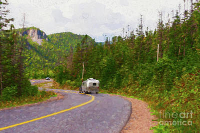 Car Photograph - Driving On A Winding Road - Painterly by Les Palenik