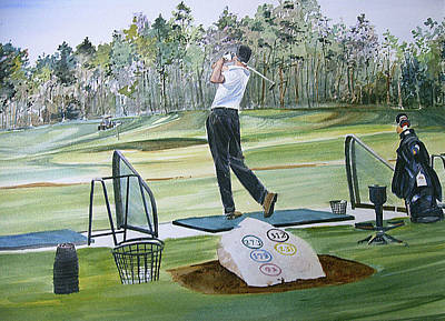 Sports Paintings - Driving Pine Hills by P Anthony Visco