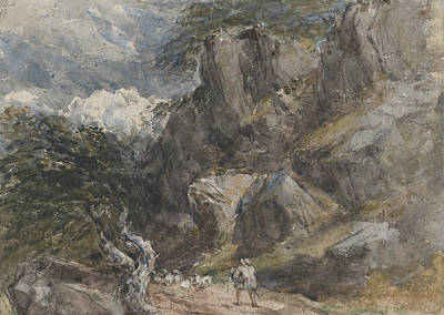 Drawing - Driving Sheep In A Rocky Landscape by David Cox