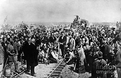 Railroad Spikes Photograph - Driving The Golden Spike May 10 1869 by Photo Researchers