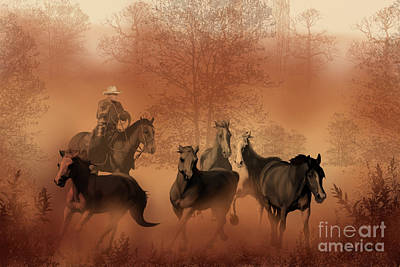 Mustang Painting - Driving The Herd by Corey Ford