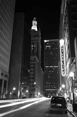 Photograph - Driving Through Downtown Tulsa - Black And White by Gregory Ballos